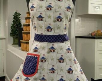 Womens Apron-American Pie Patriotic Full Sweetheart Apron