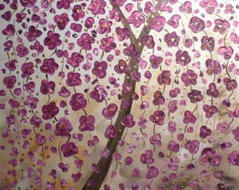 modern abstract acrylic painting tree blossoms