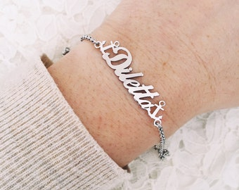 Bracelet entirely in 925 silver with name and anchor