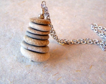 Cairn Pendant - beach stone necklace with stainless steel chain