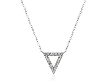 Diamond triangle necklace , sterling silver