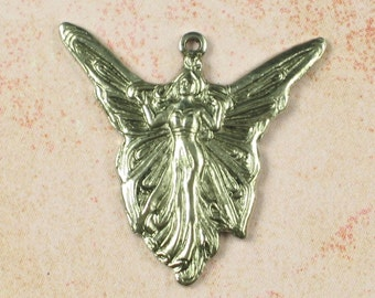 6 Antique Silver Brass Fairy Charms Jewelry Finding 510