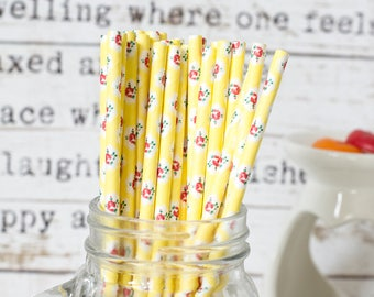 Yellow with Rose Paper Straws, Beautiful Straws for Wedding or Birthday Celebration, Heart Straws, Yellow , Paper Straws, Wedding Straws