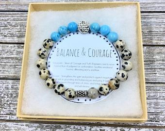 Balance & Courage Stacking Bracelet. Yoga Bracelet. Wrist Mala. Healing Bracelet