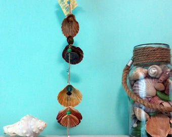 Beach decor. Driftwood, seashell, bead wall hanging, wind chime, home decor.