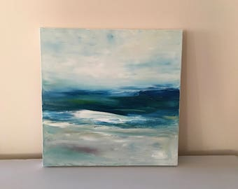 Abstract Water Painting- Beach- Beach Wave- Blue and White Original Oil Painting- 18 x 18 Stretched Canvas- 1-1/2 Inch White Painted Sides