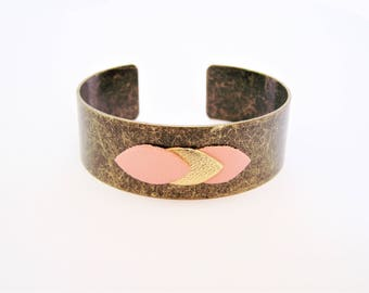Cuff Bracelet and Petal Pink and gold leather