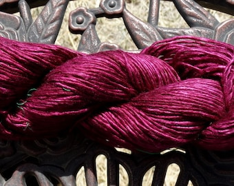208 Yards - 100% Mulberry Silk Single Ply Yarn - Burgundy - Hand Dyed - 3.45 ounces - Worsted weight - Knit, Crochet, Weave