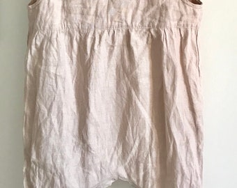 Baby Romper , Linen Romper , Washed Linen, Hand Embroidery, Organic Kids Clothing, Little Alice linen