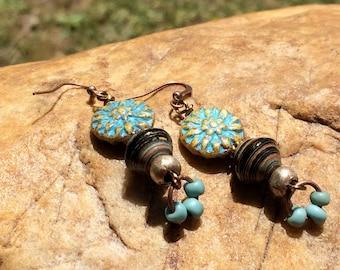 Czech Bead Boho Earrings