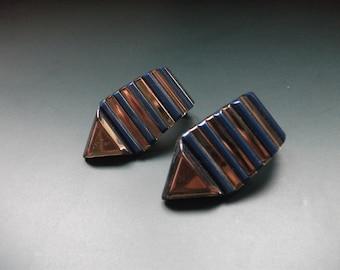 Vintage Modernist Signed Sambijoux Clip On Earrings