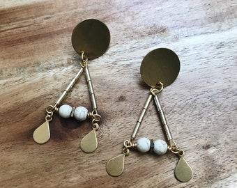 Howlite Stone Screwback Earrings + Nickel Free + Tarnish Resistant + Statement Jewelry + Handmade Jewelry + Boho