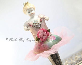 Art Doll Ballerina Dancer Doll Decoration Pink Roses Assemblage Art Doll Lorelie Kay Original