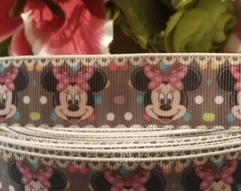 """3 yards, 1"""" brown Minnie mouse inspired grosgrain ribbon"""