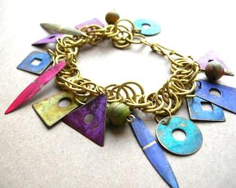 Vintage Bohemian Bracelet - 80s Bracelet - Boho Bracelet - Geometric Charm Bracelet - Colorful Patina Charm Bracelet