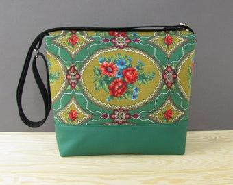 Etno Vegan Messenger Bag | Green Vintage Crossbody Bag | Vegan Shoulder Bag | Vintage Shoulder Bag | Recycled Messenger Bag | Etno Vegan Bag