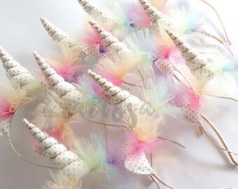 Gold dots and Pastel Rainbow Unicorn Headbands - Pastel Rainbow Unicorn Party Pack - Bulk Unicorn Headbands - 15%off