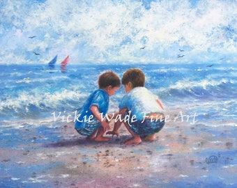 Two Beach Boys Art Print, two brothers beach, beach wall art, art, little boys room, nursery boys wall art, beach painting, Vickie Wade art
