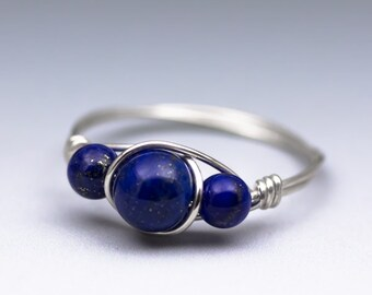 Lapis Lazuli Sterling Silver Wire Wrapped Gemstone Bead Ring - Made to Order, Ships Fast!
