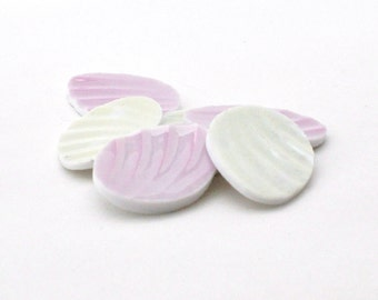 Broken China Mosaic Tiles - Recycled Plates - Eggs - Oval - Pastel - Focal - Cabochon - Set of 6