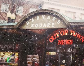 Harvard Square Photo - Iconic Out Of Town News Photo Harvard Square Snow Print Cambridge Boston Photography Harvard Yard Winter Decor Photo