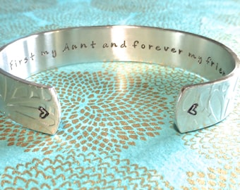 Aunt Gift | Auntie Gift | Tia Gift | Sister Gift | First my Aunt and forever my friend. Custom Hand Stamped Bracelet by MadeByMishka.com