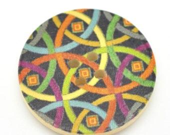 5 Floral (Design 23) Painted Wood Button Four Hole Natural Wood Colour 30mm NPB41