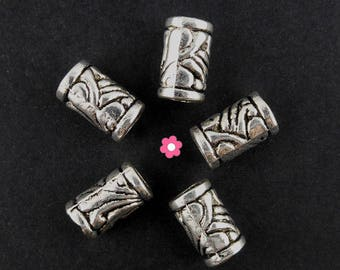 x 10 pearls metal carved tube argentee11x6mm (124C)