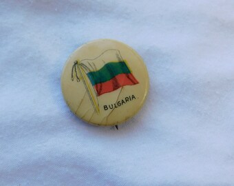 Antique Celluloid Sweet Caporal Cigarettes Pin Pinback Button Flag of Bulgaria     DR-29