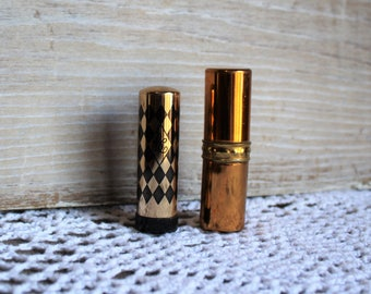 Vintage. Two/lipstick. BC/Rose Bowl. Gold/black set. Germaine Monteil lipstick/Beige. Two lipsticks. Art deco/cute gift set! Vanity deco!