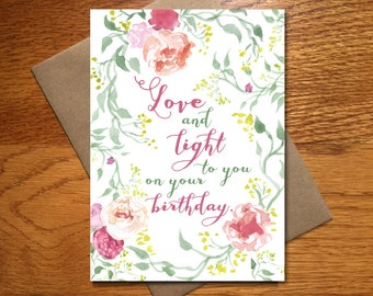 Every Day Spirit / Watercolor Love & Light Birthday Card For Her / Floral Birthday Card / Beautiful Birthday Card / Pretty Birthday Card