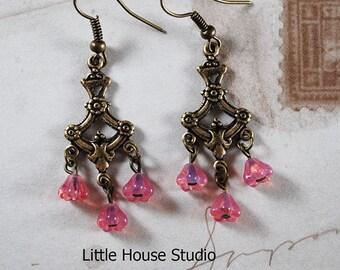 Chandelier earrings, Flower earrings, Pink Earrings, Dangle Earrings, Romantic Earrings, Gift for Her, Rose Flower Earrings, Chandelier