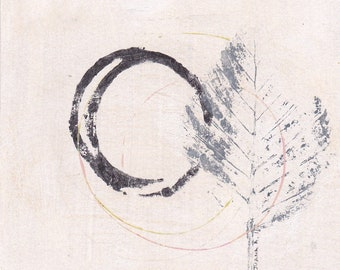 Enso IV - September 2016, abstract painting on paper, 4 x 4, small art work