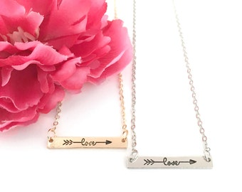 bar necklace - inspirational necklace - love necklace - silver bar necklace - gold bar necklace - women's gift - gifts for her - girls gift
