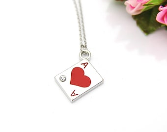 Poker Player Gift, Ace of Club Necklace, Ace Card Charm, Play Card Ace of Heart Charm, Poker Charm, Personalized Gift, Best Friend Gift, N32