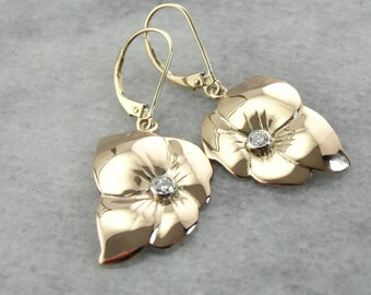 Flower Blossom Drop Earrings with Diamond Center M2LQAW-R
