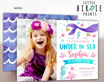 MERMAID BIRTHDAY INVITATION Mermaid  invitation Watercolor Mermaid invitation Mermaid Pool Party Invitation Under the Sea Invitation Girl