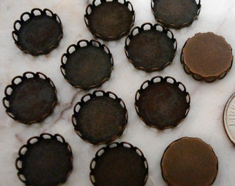 Bezel cups copper plate 12mm round machine made gallery edge 12 bezel cups bc029