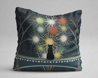 Cat Throw Pillow, Black Cat Pillow, Cat Decorative Pillow, Cat Cushion, Animal Throw Pillow, Throw Pillow, Cat Lover Gift, Gift for Her