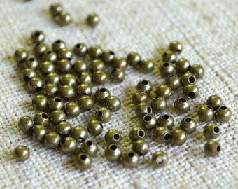 100pcs Metal Bead 2.5mm Antiqued Brass Finished Steel Round