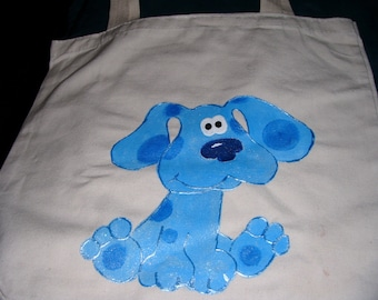 Blues Clues Inspired Handpainted Canvas Bag - Free Personalization