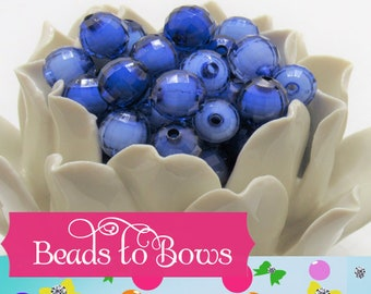 12mm Royal Blue Bead In A Bead, Bubblegum Beads, Faceted Chunky Bead,Transparent Bubblegum Bead, Chunky Necklace Supply Bead, Jewelry Bead