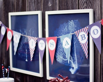 DIY Printable Banner - Ahoy It's A Boy - Baby Shower- Nautical