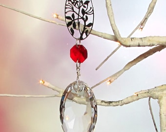 Sun Catcher, Christmas Ornament, Ruby Red, Dragon's Eye Crystal Prism, 1S-25