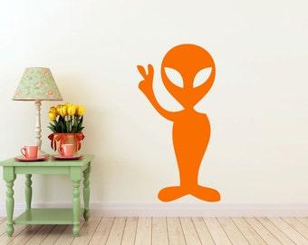 peace Alien, vinyl Wall DECAL- Animal interior design, sticker art, room, home and business decor