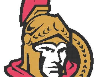 Ottawa Senators logo -- Counted Cross Stitch Chart Patterns, 3 sizes!