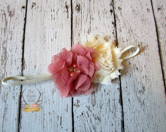Cream & Dark Pink Headband - Ivory  Dusty Rose Headband - Baby Headband - Headband - Rhinestone Pearls -  Flower Girl - Bridal