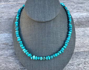 18 Inch Kingman Mine Turquoise Nugget Necklace