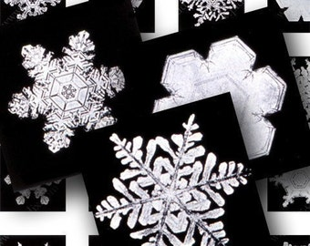 Printable Real Snowflakes, Vintage 1900 Black and White Holiday Christmas Photographs, Digital Collage Sheet .85 inch squares - piddix 608