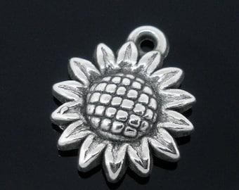 lot 5 flower CWB 19 * 16 mm sunflower pendant charm